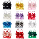 lovinglove Baby Girls Barefoot Sandals,Chiffon Flower Footwear Accessory for Toddler Babies with Chubby Feet,Unique for Daughter Niece 3-24 Month 12 Pack