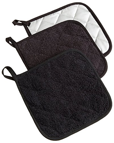 DII 100% Cotton, Quilted Terry Oven Set Machine Washable, Heat Resistant with Hanging Loop, Potholder, Black 3 Piece