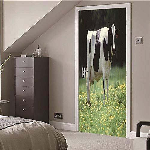 XKLBO Deursticker Muurschilderingen Fotobehang Decal, Koe, 38,5 * 200Cm * 2 Stks 3D Woonkamer Slaapkamer Kantoor Huis Home Decor Kwekerij Restaurant Café Hd Creatieve Poster