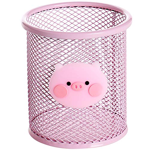 Pennenhouder Pink Metal Grid Container met grote capaciteit multifunctionele opslag Tank Girl Holiday Gifts,Pink