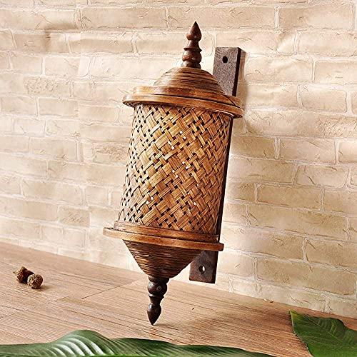 Waqihreu Lámpara de Pared de bambú Retro, lámpara de Pared Art Deco...