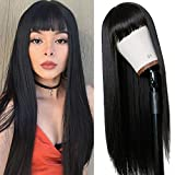 TIMANZO Long Straight Remy Hair Wigs Natural Black Heat Resistant Fiber Hair Full Machine Wig with Bangs Cosplay Party Wig For Fashion Women(24 Inches Natural Black Hair)