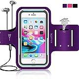 Smartlle Sportarmband für iPhone XS MAX 8 Plus 7 Plus 6/6S Plus,Galaxy S9/S8/S7 Plus s6 Edge +, Note 9/8 LG V20 Huawei P20 Pro. Running, Workout und Joggen Laufen Armband - Handyhalter Hülle(lila)