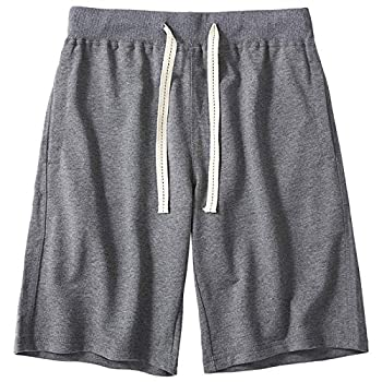 czzstance Mens Shorts Casual Cotton Athletic Shorts Drawstring Workout Running Shorts with Pockets Dark Gray