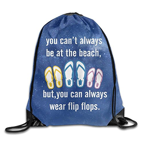 ZHIZIQIU You Can't Always Be at The Beach Flip Flops Drawstring Backpack String Bags -