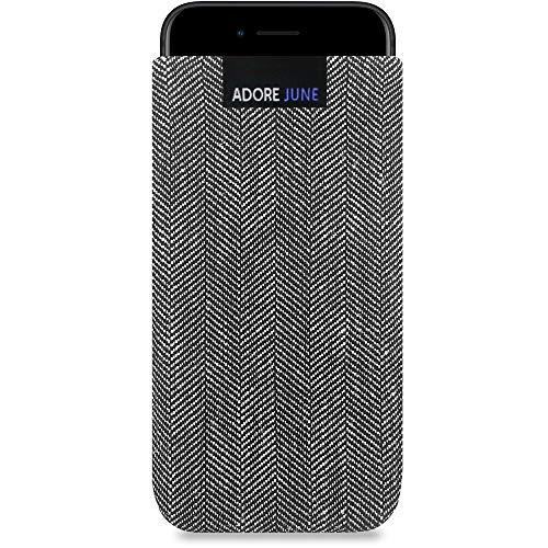 Adore June Business Tasche kompatibel mit Apple iPhone SE 2 Handytasche aus charakteristischem Fischgrat Stoff - Grau/Schwarz, Schutztasche Zubehör mit Bildschirm Reinigungs-Effekt