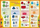 mindmemo Lernposter - Formen & Körper - Das Geometrie Poster Grundschule spielend Mathe lernen mit...