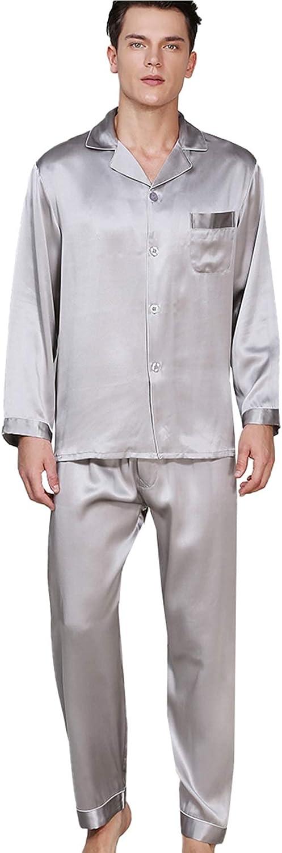FMOGG Men's Pajama Set Long Sleeve 19 Mumi Heavy 100% Mulberry Silk Sleepwear Button Down Tops and Pants Classic Homewear Set Spring and Autumn Homewear M-3Xl