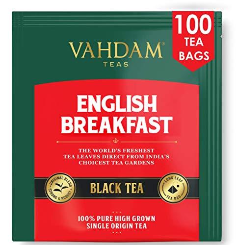 Englisches Frühstück Schwarzer Tee (100 Teebeutel) | Hohe Energie Und Koffein - Gesunder Kaffeeersatz | Starke, robuste und geschmackvolle schwarze Teebeutel | Kombucha Tee | ANTIOXIDANTS RICH