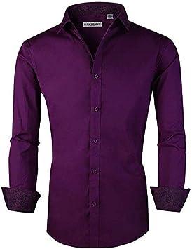 YFSLC-Studio Camisa De Manga Larga Hombre,Los Hombres Púrpura Plaid Elegante Slim Fit De Manga Larga De Vestimenta Formal Casual Camisetas Cómodas De ...