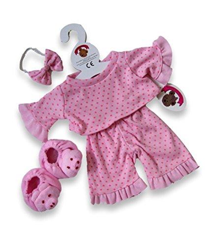 Build your Bears Wardrobe Teddy Bear Clothes Fits Build a Bear Teddies Polka Dot Pjs and Slippers