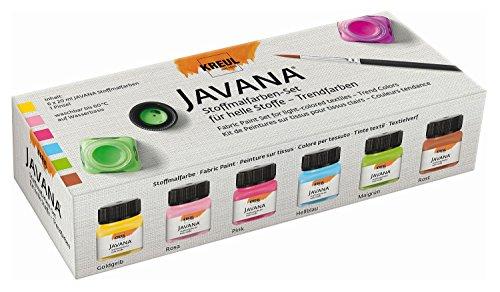 Kreul 90599 - Javana Stoffmalfarbe für helle Stoffe, Trendfarbenset, 6 x 20 ml Farbe und ein Pinsel, brillante Farbe mit cremigem Charakter, nach Fixierung waschbeständig