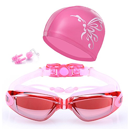 QainYiDa Swimming Goggles Set Swimming Cap, Watertight Comfortable Anti-UV Shatter-Proof Adjustable Complete Accessory Swim hat+Earplug+ Nose Clip+Protective Box-Pink