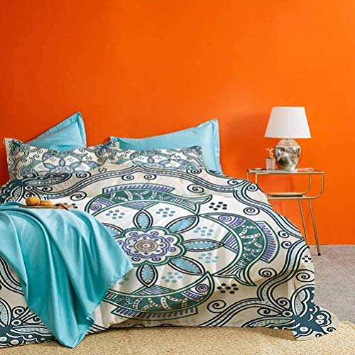 Floral Three-Piece Bed Duvet Cover Victorian Butterfly and Curved Fish Pattern Shabby Chic Image Best Material/Highly Durable Teal Beige Violet Blue X-Long Twin Size (No Quilts and Inserts)