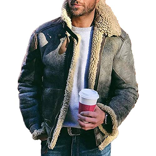 SWGG pele de lã sintética masculina de couro um cinto curto lapela grande jaqueta masculina verde L