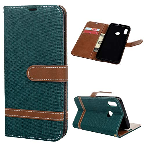 Funda Huawei Honor 10 Lite, Carcasa Cuero Billetera Piel Libro Cover [Ranura Tarjeta] Color Sólido Protectora Slim Bumper Leather Wallet Folio Color Puro Estuches para Huawei P Smart 2019 Verde Oscuro