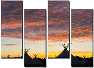 4 Panel Canvas Pictures Native American Teepee On the Prairie at Sunset Home Decor Gifts Canvas Wall Art for your Living Room