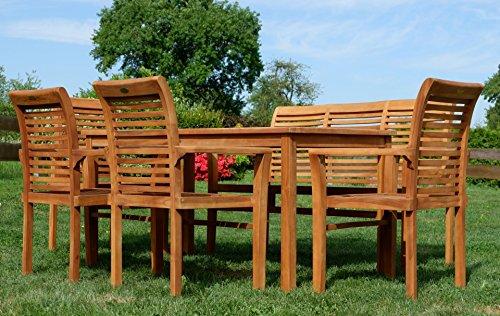 Edle TEAK XXL Gartengarnitur Gartenset Sitzgruppe Gartenmöbel TISCH + 1 Bank + 4 Sessel 'ALPEN' Holz geölt von AS-S - 3