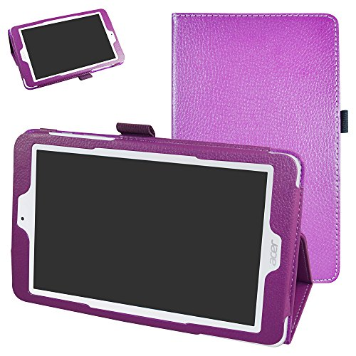 Acer Iconia One 8 B1-850 Case,Mama Mouth PU Leather Folio 2-folding Stand Cover with Stylus Holder for 8' Acer Iconia One 8 B1-850 / B1-870  Android Tablet,Purple