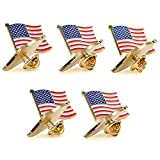 American Flag Pin -The Stars and Stripes -Solid Metal Flag Lapel Pin-Exquisite Gold Toned US Flag Pin(10 Pack Waved)