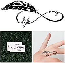 Tattify Feather Infinity Symbol Temporary Tattoo - Tree Hugger (Set of 2) - Other Styles Available - Fashionable Temporary Tattoos