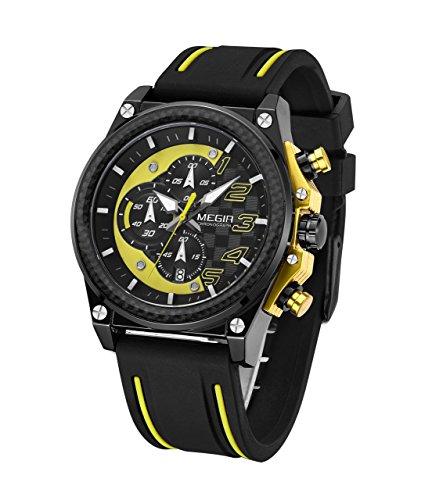 Megir Herren Chronograph Quarz Armbanduhr Casual Waterproof Outdoor Sportuhr mit großen Zifferblättern Silikonband