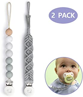 Pacifier Clips BPA Free Silicone Beaded Binky Holder and Cotton Rope/Natural Holder for Boy and Girl Teething Holder Infant Baby Shower Gift (2 Pack, Grey)