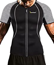 Men Weight Loss Shirt Workout Neoprene Top Training Body Shaper Clothes Sweat Sauna Suit Exercise Fitness Short Sleeve (Black, L)