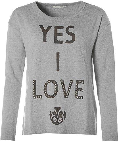 Barbara Becker Damen Sweatshirt Rundhals Strasssteine -Yes I Love- Grey Melange 44