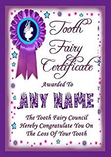 Tooth Fairy Lost Tooth Personalized Award Certificate Purple