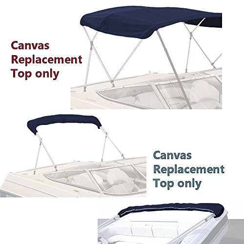 """SavvyCraft Bimini TOP Boat Cover Canvas Fabric Navy 3 Bow 72"""" L 73""""-78"""" W Fits existing Frame Tube up to 1"""""""
