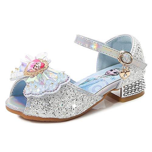 YOSICIL Zapatos de Tacón Alto con Arco para Niña Zapatos de Ballet Disfraz de Princesa Elsa con Lentejuelas Sandalias de Pescado Boca Zapatilla de Vestir Fiesta Cosplay Carnaval Playa
