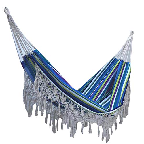 Fusmaker Hangmat Tassel Outdoor Polyester Hangmat 200 * 150Cm, Camping Draagbare Hangmat Strand Binnen Balkon Luie Swing Hangstoel