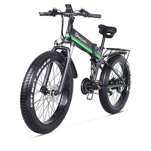 Shengmilo (MX01) bicicleta eléctrica para adultos bicicleta eléctrica 1000 W neumático gordo 26 x 4 pulgadas bicicleta eléctrica para adultos, con batería de litio extraíble y cargador de batería