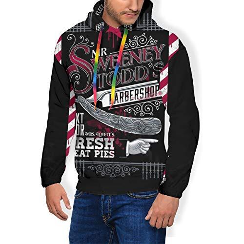 Demon Barber Mr Sweeney Todds Barbers Shop Herren Fashion Sweatshirt Kapuzenpullover Taschen Plus Samt Gr. X-Large, Schwarz