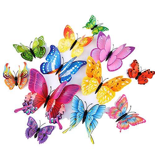 CINY 36 Pezzi Adesivi Murali Farfalla 3d, Decorazione Soggiorno Da Letto Camera Da Letto Adesivi Frigorifero Autoadesivi Creativi, Doppi Strati Colorati (Magnetici + Colla) + 6 Farfalle Luminose
