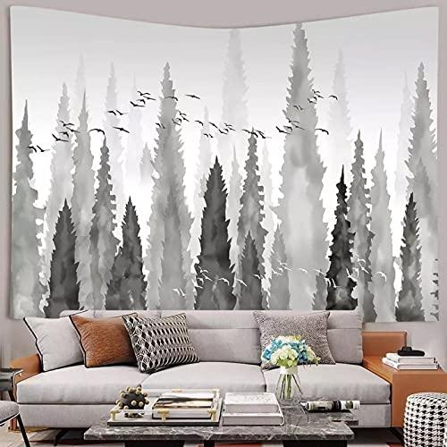 DQLREW Tapiz Pared decoración Arte tapices Tapiz de montañas Naturaleza Gris Misty Forest Art Tapices para Colgar en la Pared para la decoración del Dormitorio del hogar Sala de estar-59x79inch