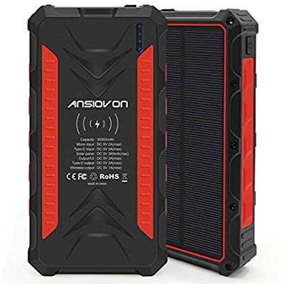 Solar Charger 36000mAh - ANSIOVON Solar Power Bank Portable QI Solar Phone Charger with LED Flashlight - 2 Outputs 5V/3A & 2 Inputs for Emergency Power Supply, Outdoors, Camping