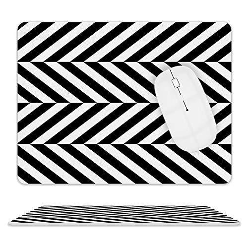 Alfombrilla de ratón de piel de sarga negra y blanca para ordenador portátil, 25 x 20 x 2 cm.