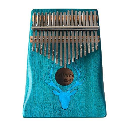 ZIEO Pocket Thumb Finger Piano17 Tasten Kalimba Elk Thumb Piano Mit Hammer Tragbares Musikinstrument Dreamy Elk Blue Finger Daumen Klavier