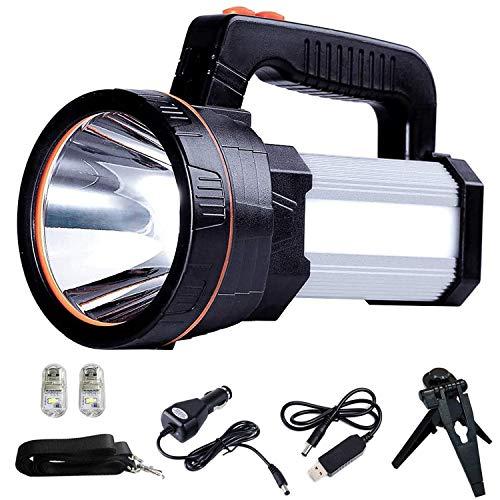 ALFLASH LED Searchlight Rechargeable Handheld Flashlight 7000 Lumens 6000mAh Torch Lantern Waterproof Searchlight Torch Light with 5 Light Model Silver