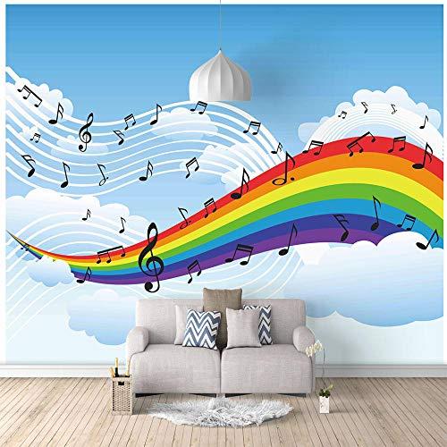 Fototapete Kinderzimmer Karikatur Regenbogen Musiknote 350x256cm Tapete Fototapeten Vlies Tapeten Vliestapete Wandtapete moderne Wandbild Wand Schlafzimmer Wohnzimmer Architektur