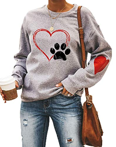 Love Heart Dog Paw Print Sweatshirts Women Long Sleeve Pullover Tops Casual Blouse Gray