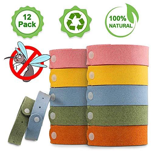 Molbory Mückenschutz Armband - Sicheres und Wasserdichtes, 12 Stück Insektenschutz-Armband, Anti-Mücken Armband, Reusable Repellent Wristband für Indoor, Outdoor, Kinder, Erwachsene