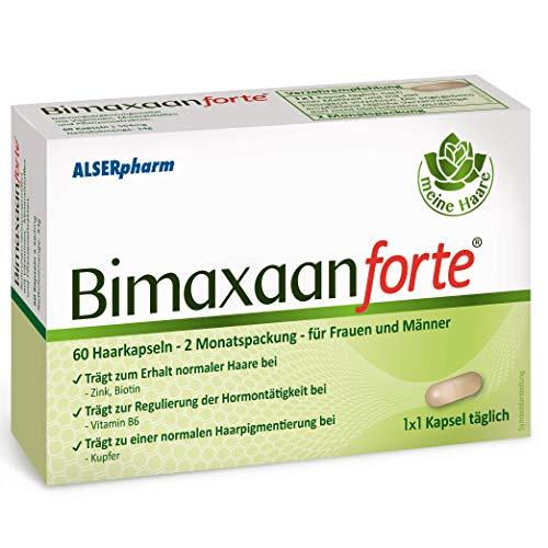 Bimaxaan forte Haar-Vitamine 2-Monatspackung für Männer und Frauen! Zum Erhalt normaler Haare - spezielle Rezeptur mit Biotin, Zink und B Vitaminen. Mit Beta Sitosterol. 60 Tabletten - Alserpharm