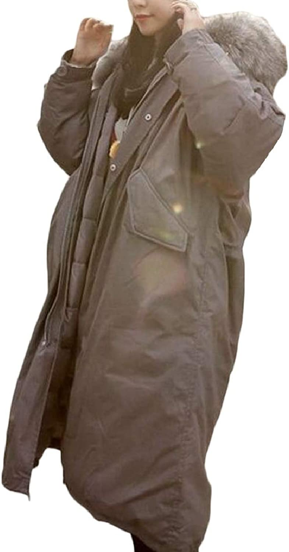 Xswsy XGCA Women's Winter Jacket Parka Faux Fur Collar Long Coat Overcoat