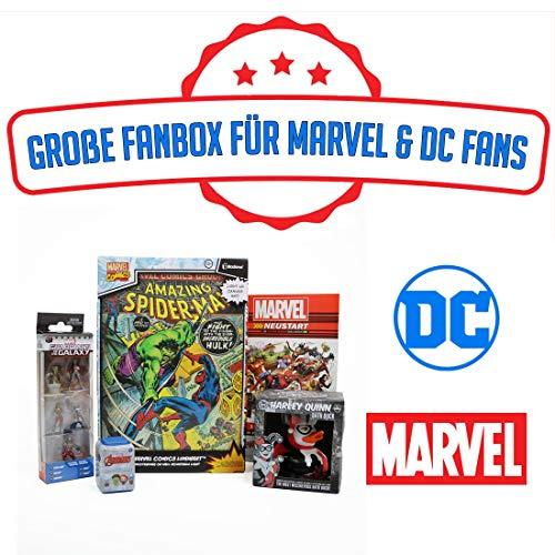 Marvel & DC Fan Box - Großes Bundle mit 4 Artikeln im Wert von über 50€ + Exklusives Gratis Comic - Ausgewählte Gadgets, Figuren, Luminart und mehr