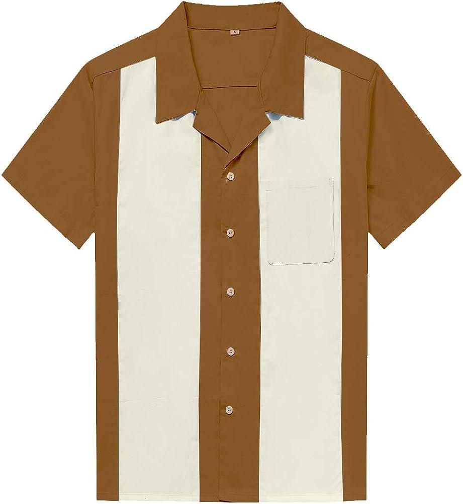 Wanlian Men's Retro Camp Rockabilly Cotton Mens Shirts Short Sleeve Fifties Bowling Casual Dress Shirts