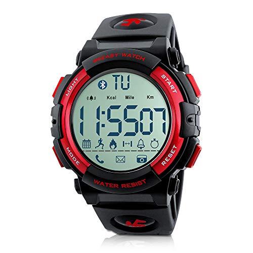 Beeasy Reloj Deportivo Hombre,Relojes Digital Impermeable Watches Inteligente Bluetooth Fitness Tracker Contador Calorías Podómetro Cámara Remota App Notificación de Llamadas SMS,Rojo