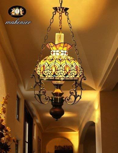 Plafondlamp Retro glas in lood Kerosene plafond kroonluchter lampen voor slaapkamer, eetkamer, woonkamer, Bar, Restaurant, Home Decor